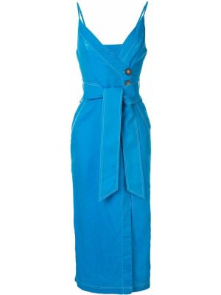 Платье с запахом - синее Suboo