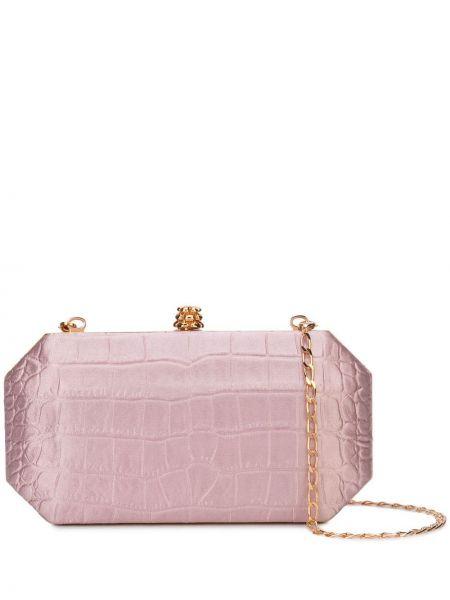 Кожаная золотистая розовая сумка на цепочке Tyler Ellis