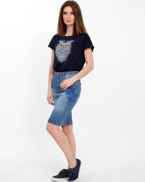 Джинсовая юбка стрейч с карманами F5