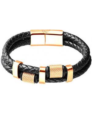 Кожаный браслет - черный Evora