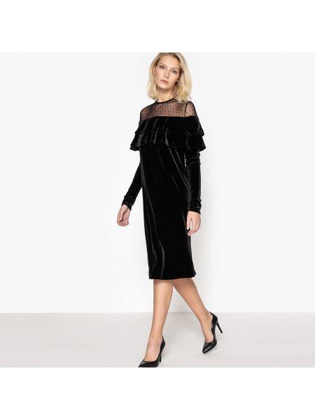 Платье миди велюровое с оборками La Redoute Collections