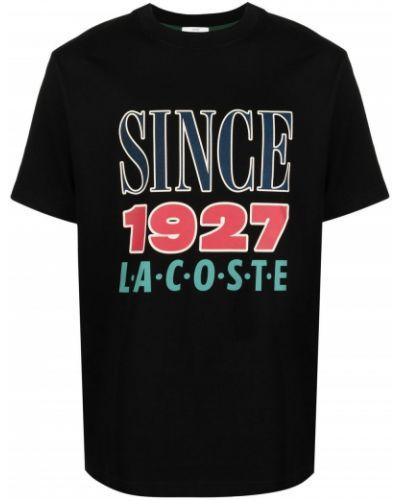Czarny t-shirt bawełniany krótki rękaw Lacoste Live
