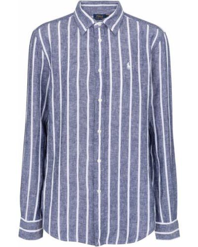 Синяя льняная рубашка в полоску Polo Ralph Lauren