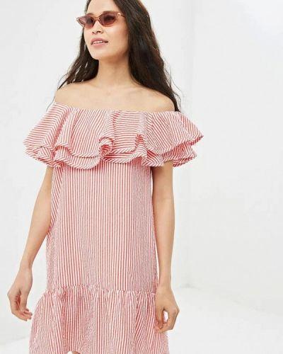 Красное платье с открытыми плечами Gepur
