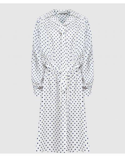 Шелковое белое платье миди Lanvin