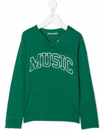 Зеленая футболка с надписью на пуговицах с длинными рукавами Zadig & Voltaire Kids