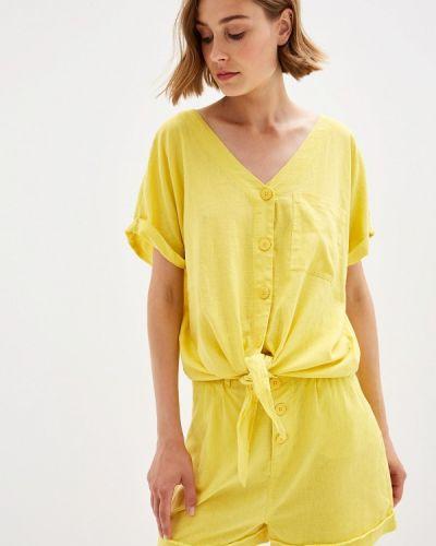 Блузка с коротким рукавом осенняя желтый Q/s Designed By