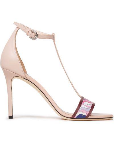 Sandały skorzane klamry Emilio Pucci