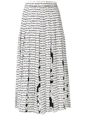 Плиссированная белая шелковая юбка миди с поясом Dvf Diane Von Furstenberg