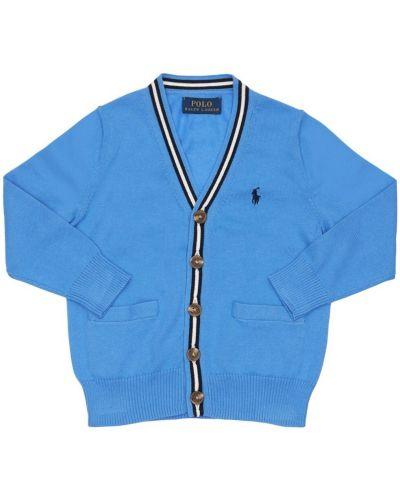 Niebieski kardigan z haftem bawełniany Ralph Lauren