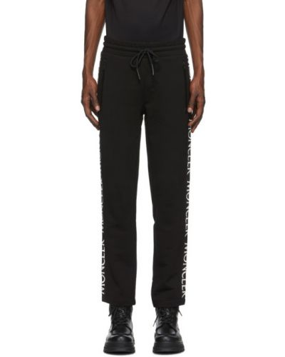 Frotte czarny spodnie z kieszeniami z haftem Moncler