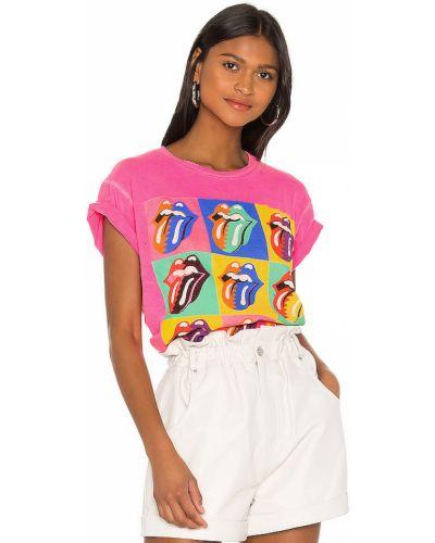 Różowy t-shirt bawełniany z printem Madeworn