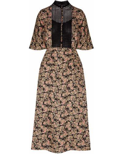 Платье миди на пуговицах из вискозы Sandro