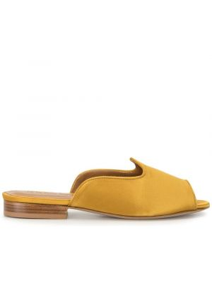 Открытые желтые кожаные сандалии на каблуке Le Monde Beryl
