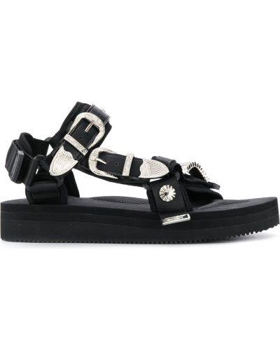 Otwarty z paskiem czarny skórzany sandały Suicoke