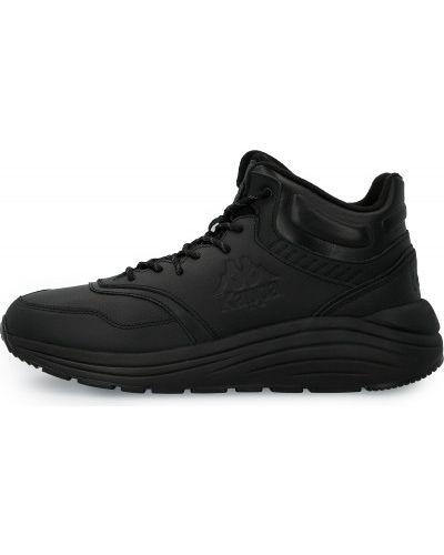 Теплые кожаные черные высокие кроссовки Kappa