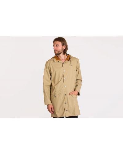 Brązowa długa kurtka z kapturem Rains