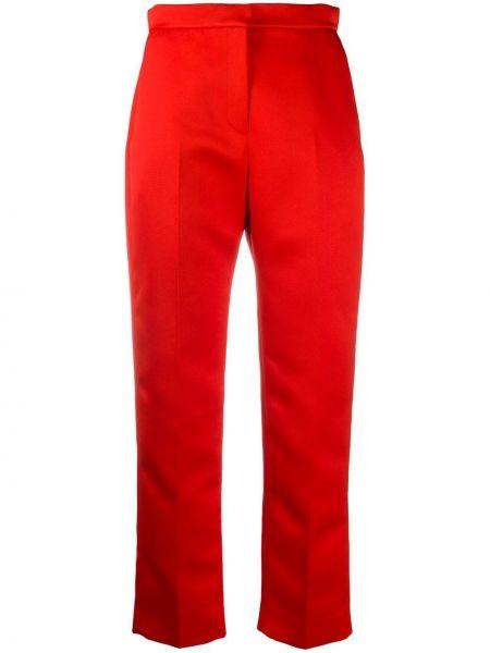 Прямые с завышенной талией красные укороченные брюки Maison Rabih Kayrouz