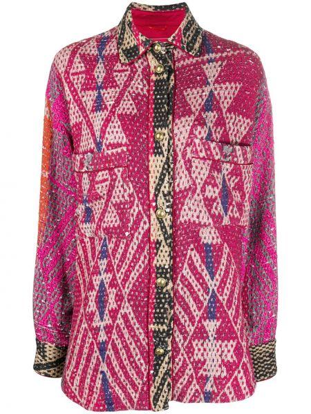 С рукавами хлопковая розовая рубашка на пуговицах F.r.s. For Restless Sleepers