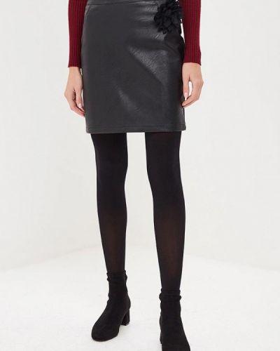 Кожаная юбка осенняя черная Perfect J
