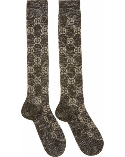 Skarpety srebrne - czarne Gucci
