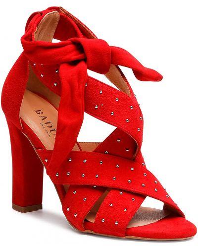 Sandały skórzane - czerwone Badura