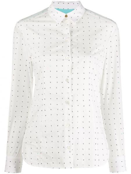 Шелковая с рукавами белая классическая рубашка Paul Smith
