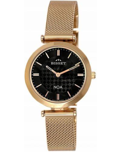 Klasyczny czarny złoty szwajcarski zegarek Bisset