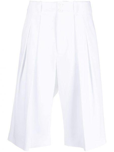 Хлопковые белые короткие шорты с карманами Plan C
