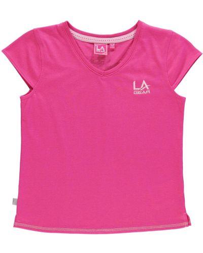 Różowa koszula krótki rękaw bawełniana La Gear
