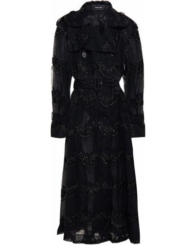Czarny płaszcz dwurzędowy z paskiem zapinane na guziki Simone Rocha