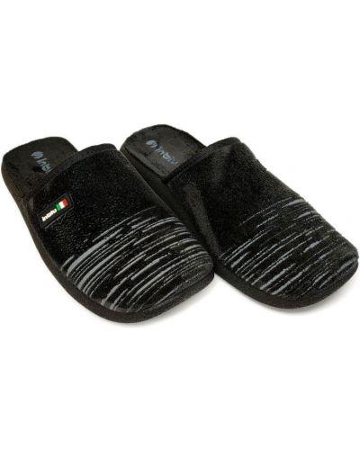 Черные велюровые домашние тапочки Inblu