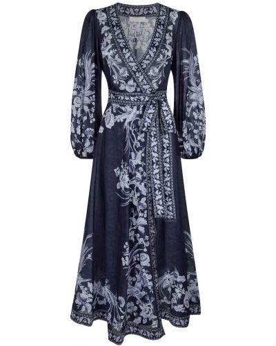 Синее платье миди с принтом Zimmermann
