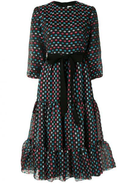 Шелковое с рукавами черное платье миди Erdem