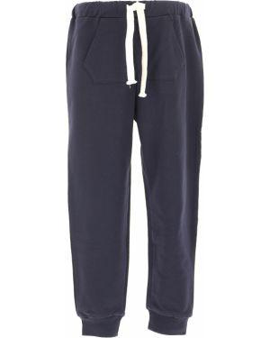 Prążkowane niebieskie spodnie bawełniane No. 21