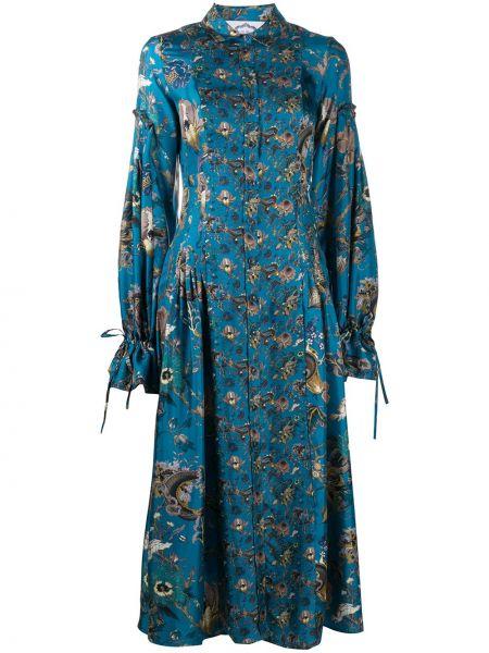 Niebieska sukienka długa rozkloszowana z długimi rękawami Evi Grintela