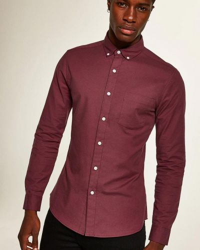 Рубашка с длинным рукавом красный бордовый Topman