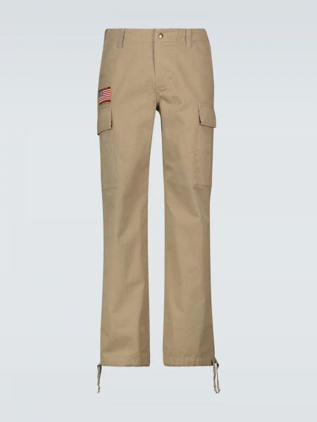 Хлопковые бежевые брюки карго с заплатками с карманами Phipps