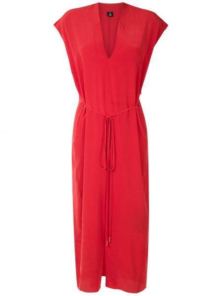 Шелковое платье миди с V-образным вырезом на молнии без рукавов Osklen