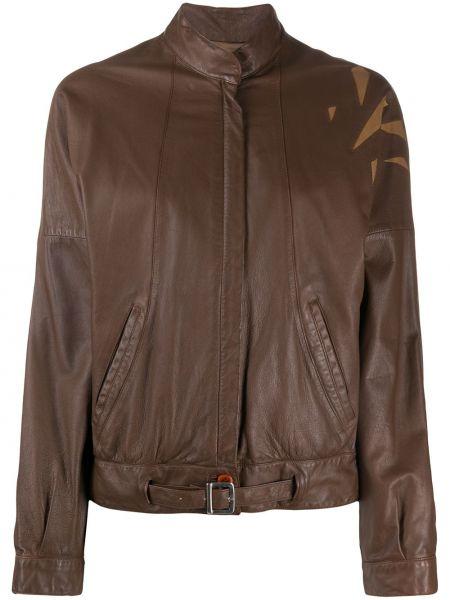 Коричневая кожаная куртка с воротником A.n.g.e.l.o. Vintage Cult