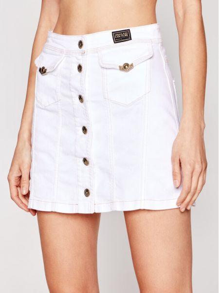 Spódnica jeansowa - biała Versace Jeans Couture