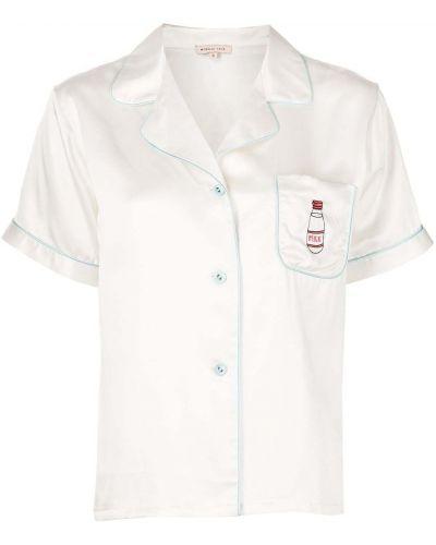 Шелковая пижама с карманами с воротником на пуговицах Morgan Lane