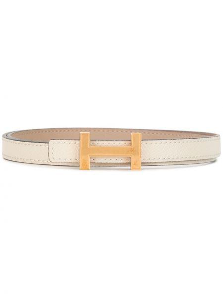 Кожаный белый ремень винтажный двусторонний Hermès