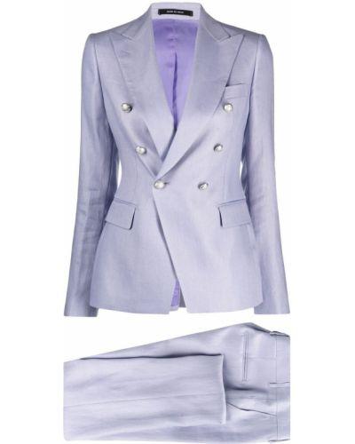 Fioletowy garnitur z paskiem z długimi rękawami Tagliatore