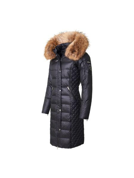 Czarna długa kurtka skórzana pikowana Rockandblue
