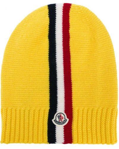Шерстяная желтая шапка бини с нашивками Moncler Kids
