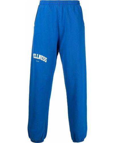 Флисовые синие спортивные брюки с поясом Sporty And Rich