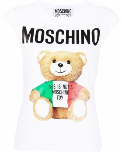 Прямая белая футболка с вырезом Moschino