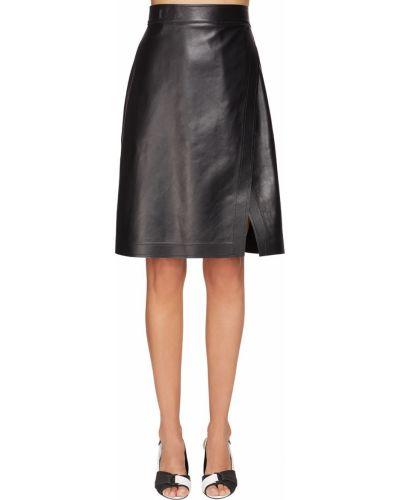 Кожаная юбка с запахом с завышенной талией Sportmax