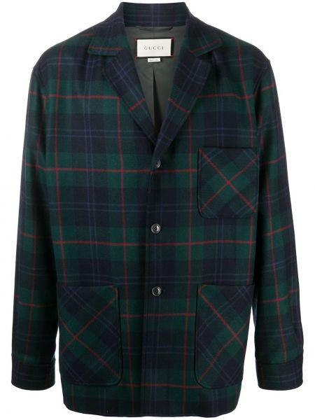 Zielony koszula z długimi rękawami z łatami z kieszeniami Gucci
